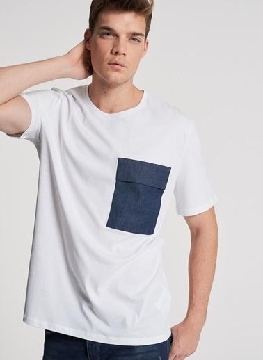 Pi π Cep Detaylı Tişört Beyaz